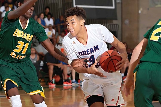 Chase Jeter of Dream Vision drives from the top of the key during the adidas Super 64 Championship game between Indiana Elite and Dream Vision at Rancho High School in Las Vegas, Nevada. (Photo by ...