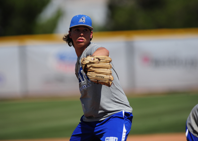 College of Southern Nevada pitcher Mikey York, who was selected in the fifth round of the Major League Baseball first-year player draft by the Tampa Bay Rays on Friday, is seen during a bunting dr ...
