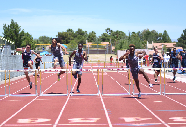 Liberty's David Washington, third from right, won the 300-meter hurdles at the Division I Sunrise Region meet at Del Sol High School in Las Vegas on Saturday, May 14, 2016. (Martin S. Fuentes/Las  ...
