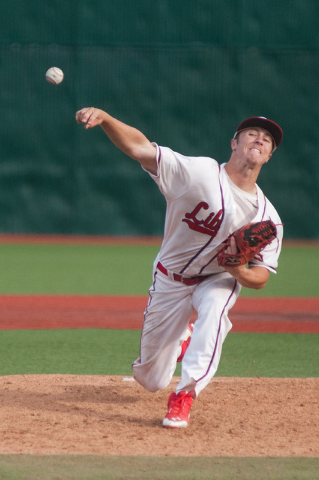 Liberty's Dan Skelly pitches against Centennial in the Division I state tournament on Friday. Skelly threw a five-hitter and went 2-for-3 and drove in the tying run as the Patriots won 3-2 to adva ...
