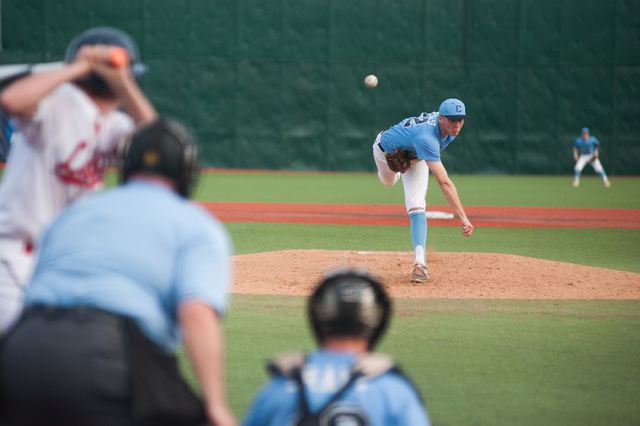 Centennial's William Loucks pitches against the Liberty in the Division I state tournament on Friday. Liberty defeated Centennial 3-2 to advance to the final. (Kevin Clifford/Special to the Review ...