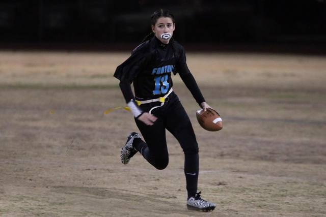 Foothill junior Madisyn McArthur (13) runs in a Southeast League flag football game against Green Valley. The host Falcons won, 18-12. (Photo courtesy George Babakitis)