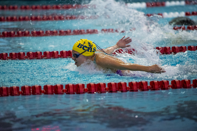 Montana Lloyd won the 100-yard backstroke and the 200-yard individual medley in last year's Division I-A state meet and returns this season for Boulder City. Joshua Dahl/Las Vegas Review-Journal