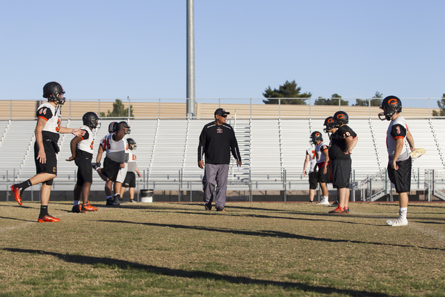 Chaparral head coach Paul Nihipali watches his players stretch during practice on Thursday, Nov. 10, 2016, in Las Vegas. Erik Verduzco/Las Vegas Review-Journal Follow @Erik_Verduzco