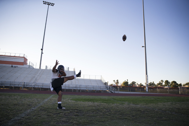 Chaparral's Jacob Ford (30) kicks a punt during practice on Thursday, Nov. 10, 2016, in Las Vegas. Erik Verduzco/Las Vegas Review-Journal Follow @Erik_Verduzco