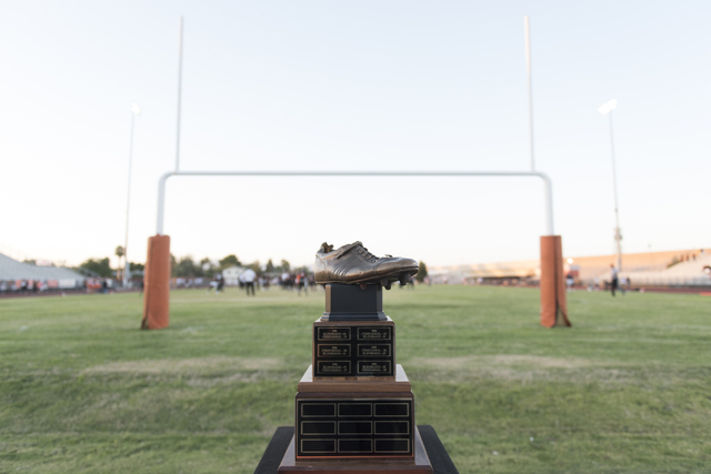 "Merlin Olsen's cleat trophy sits next to the field prior to the Eldorado playing in the ""Cleat Game"" at Chaparral in Las Vegas, Friday, Sept. 9, 2016. Jason Ogulnik/Las Vegas Review-Journal"