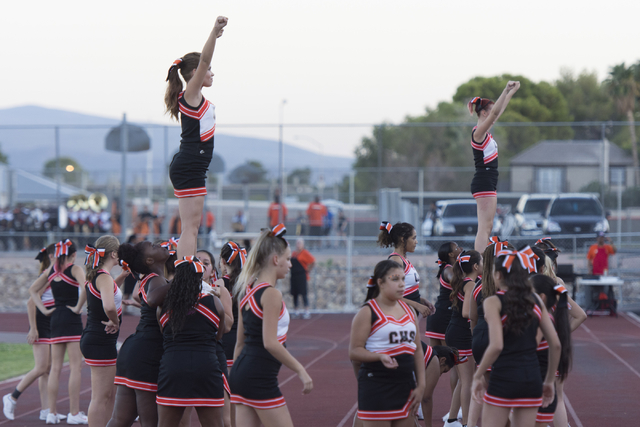 Chaparral cheerleaders warm-up prior to Eldorado playing Chaparral during a football game at Chaparral in Las Vegas, Friday, Sept. 9, 2016. Jason Ogulnik/Las Vegas Review-Journal