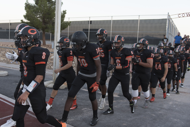 Chaparral football players run onto the field during a game against Eldorado at Chaparral in Las Vegas, Friday, Sept. 9, 2016. Jason Ogulnik/Las Vegas Review-Journal
