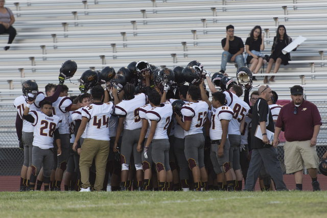 Eldorado football players huddle prior to playing a game at Chaparral in Las Vegas, Friday, Sept. 9, 2016. Jason Ogulnik/Las Vegas Review-Journal