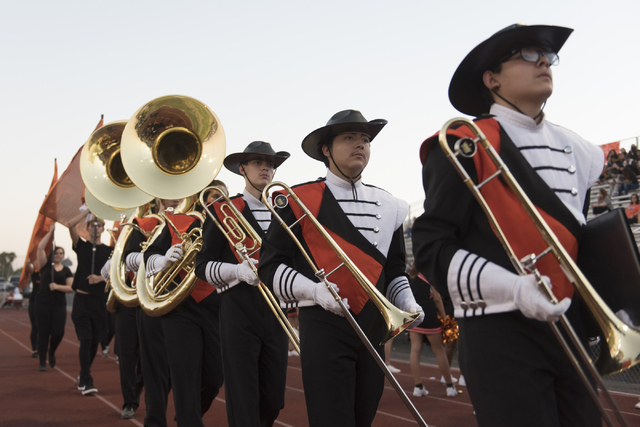 Chaparral marching band members walk on the sideline prior to Eldorado playing a football game at Chaparral in Las Vegas, Friday, Sept. 9, 2016. Jason Ogulnik/Las Vegas Review-Journal