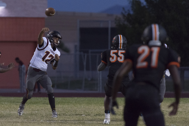 Eldorado's Jaime Rangel (12) throws the ball during a football game at Chaparral in Las Vegas, Friday, Sept. 9, 2016. Jason Ogulnik/Las Vegas Review-Journal