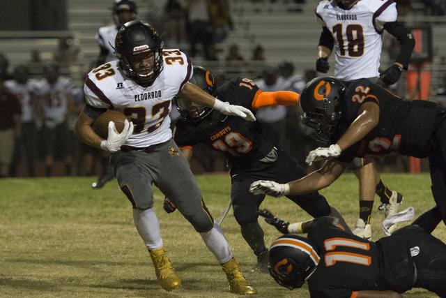 Eldorado's Anthony Silva (33) runs with the ball during a football game at Chaparral in Las Vegas, Friday, Sept. 9, 2016. Jason Ogulnik/Las Vegas Review-Journal