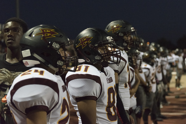 Eldorado football players watch from the sideline as they play at Chaparral in Las Vegas, Friday, Sept. 9, 2016. Jason Ogulnik/Las Vegas Review-Journal