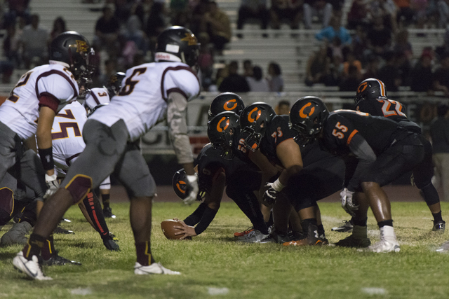 """Eldorado plays a football game against Chaparral during the annual """"Cleat Game"""" at Chaparral in Las Vegas, Friday, Sept. 9, 2016. Jason Ogulnik/Las Vegas Review-Journal"""