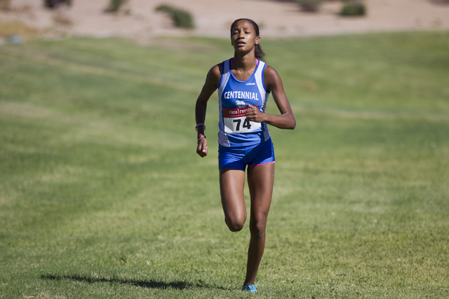 Centennial's Alexis Gourrier runs to the finish line to take first place in the cross country girls varsity Palo Verde Labor Day Classic at Palo Verde High School on Saturday, Sept. 3, 2016, in La ...
