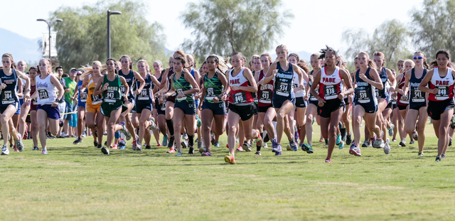 Cross country varsity A girls race participants start their race during the 2016 Larry Burgess Cross Country Invitational held at Sunset Park, 2601 East Sunset Road, Las Vegas, Saturday, Sept. 10, ...
