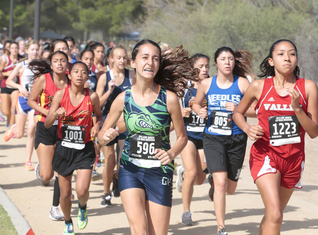 Green Valley's cross country runner Jennifer Sleman (596), and Valley's Lorraine Corado (1223) concentrate on the course ahead in the varsity A girls race during the 2016 Larry Burgess Cross Count ...