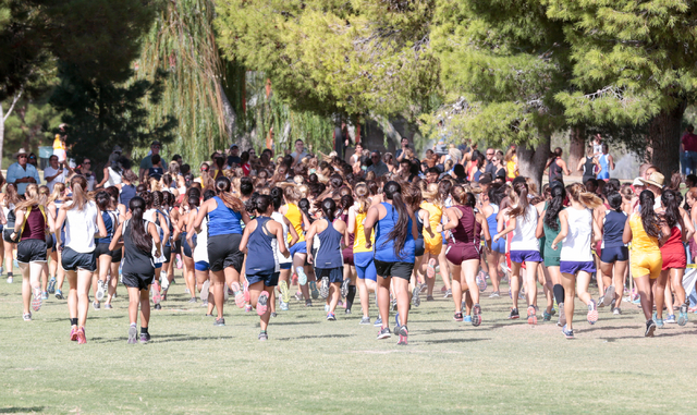 A view from the back of the pack is show of the varsity girls cross country runners as they start their race during 2016 Larry Burgess Cross Country Invitational held at Sunset Park, 2601 East Sun ...