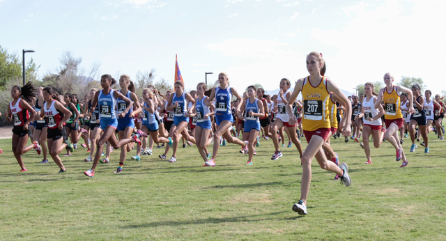 Varsity girls cross country runners are seen as they start their race during the 2016 Larry Burgess Cross Country Invitational held at Sunset Park, 2601 East Sunset Road,  Las Vegas, Saturday, Sep ...
