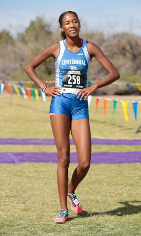 Centennial High School cross country runner Alexis Gourrier (258) is shown after coming across the finish line during the 2016 Larry Burgess Cross Country Invitational held at Sunset Park, 2601 Ea ...