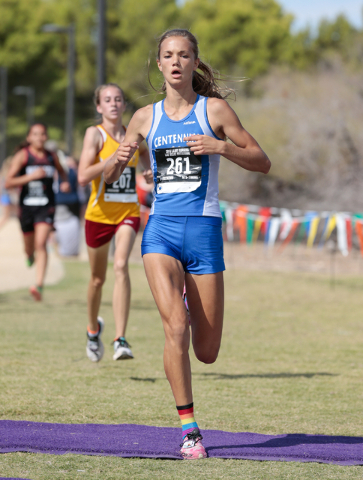 Centennial High School cross country runner Karina Haymore (261) is shown as she crosses the finish line in the varsity A girls race during the 2016 Larry Burgess Cross Country Invitational held a ...