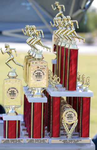 Varsity girls trophies are shown on a table prior to the finish of the 2016 Larry Burgess Cross Country Invitational held at Sunset Park, 2601 East Sunset Road, Las Vegas, Saturday, Sept. 10, 2016 ...