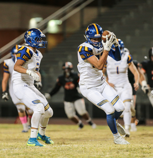 Moapa Valley sophomore Derek Reese (23) comes away with an interception during a football game against Chaparral, held at Chaparral High School in Las Vegas, Friday, Oct. 21, 2016. Donavon Lockett ...