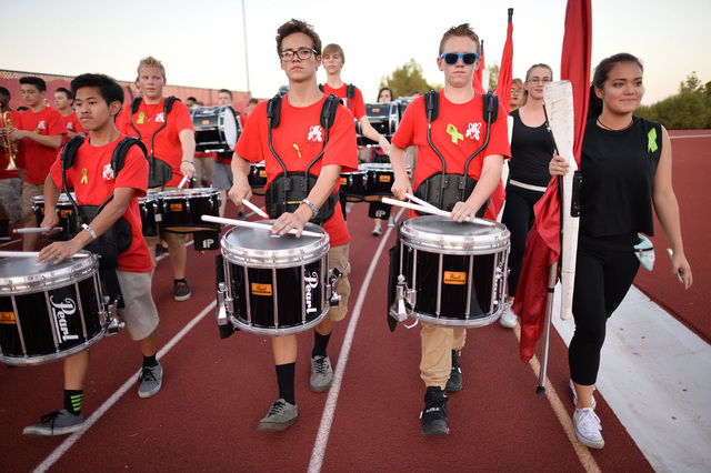 The Arbor View High School band enters the stadium before the Arbor View High School Foothill High School game at Arbor View in Las Vegas on Friday, Sept. 9, 2016. Brett Le Blanc/Las Vegas Review- ...