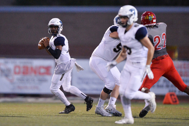 Foothill quarterback Jordan Wilson (11) looks downfield for an open man during the Arbor View High School Foothill High School game at Arbor View in Las Vegas on Friday, Sept. 9, 2016. Brett Le Bl ...