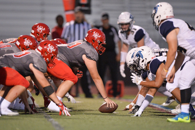Arbor View High School lines up against Foothill High School during their game at Arbor View in Las Vegas on Friday, Sept. 9, 2016. Brett Le Blanc/Las Vegas Review-Journal Follow @bleblancphoto