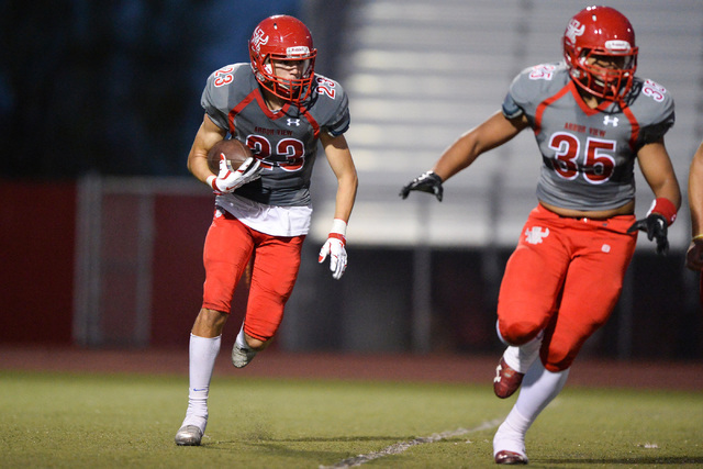 Arbor View running back Deago Stubbs (23) runs the ball during the Arbor View High School Foothill High School game at Arbor View in Las Vegas on Friday, Sept. 9, 2016. Brett Le Blanc/Las Vegas Re ...