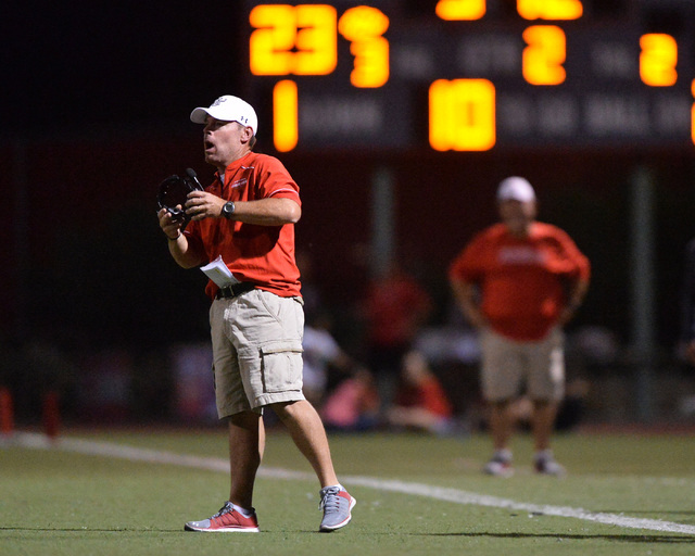 Arbor View head coach Dan Barnson calls a play during the Arbor View High School Foothill High School game at Arbor View in Las Vegas on Friday, Sept. 9, 2016. Brett Le Blanc/Las Vegas Review-Jour ...