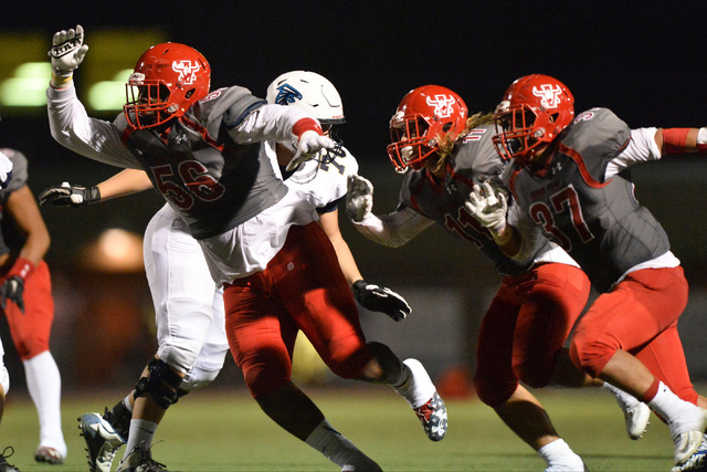 Arbor View lineman Gregory Rogers (56) makes a swim move to head a block in the second quarter of the Arbor View High School Foothill High School game at Arbor View in Las Vegas on Friday, Sept. 9 ...