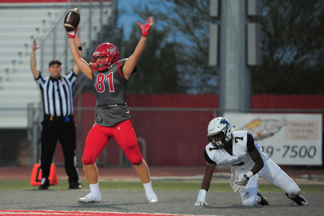Arbor View tight end Mason Skyler Moses (81) celebrates a touchdown during the Arbor View High School Foothill High School game at Arbor View in Las Vegas on Friday, Sept. 9, 2016. Brett Le Blanc/ ...
