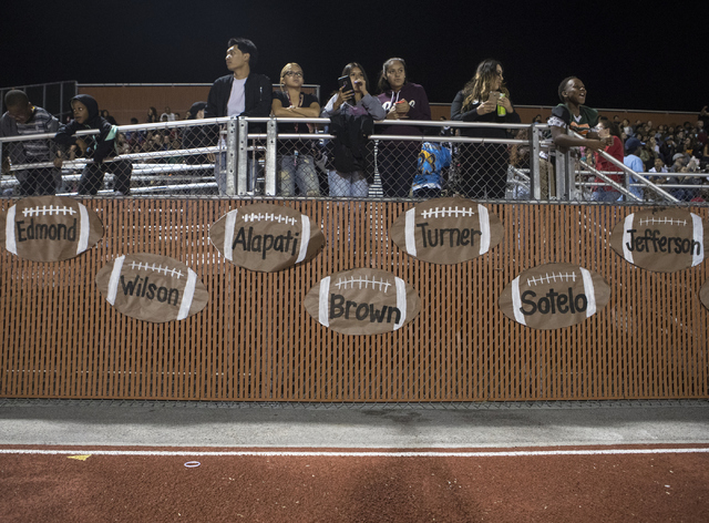 Legacy High School fans watch their team during the Legacy High School Shadow Ridge High School game at Legacy High School in North Las Vegas on Friday, Nov. 4, 2016. Loren Townsley/Las Vegas Revi ...