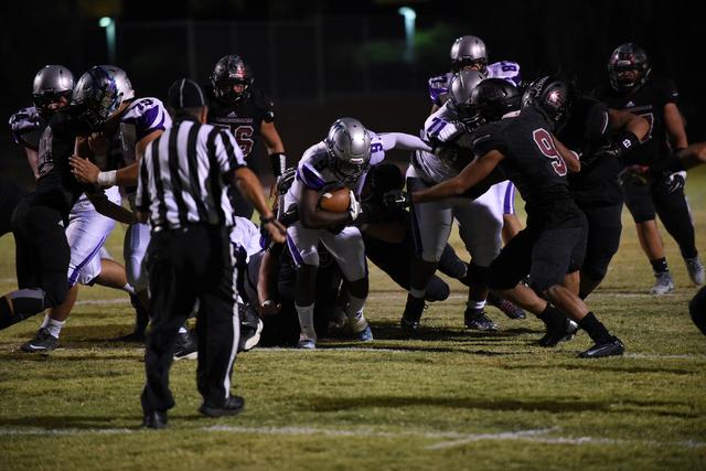 Silverado's Nahzi Salih (9) runs down field against Desert Oasis defense during their football game played at Desert Oasis football field in Las Vegas on Friday, Sept. 9, 2016. Martin S. Fuentes/L ...