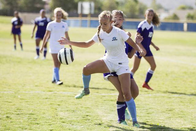 Foothill's Amber Risheg (2) takes possession of the ball against Silverado in the girl's soccer game at Foothill High School on Thursday, Sept. 22, 2016, in Las Vegas. Foothill won 2-0. Erik Verdu ...