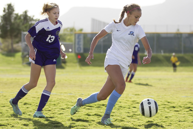 Foothill's Amber Risheg (2) runs with the ball against Silverado in the girl's soccer game at Foothill High School on Thursday, Sept. 22, 2016, in Las Vegas. Foothill won 2-0. Erik Verduzco/Las Ve ...