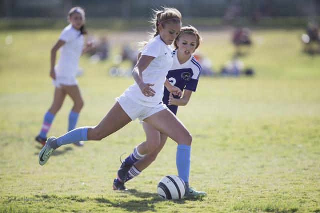 Foothill's Amber Risheg (2) moves for a kick against Silverado in the girl's soccer game at Foothill High School on Thursday, Sept. 22, 2016, in Las Vegas. Foothill won 2-0. Erik Verduzco/Las Vega ...