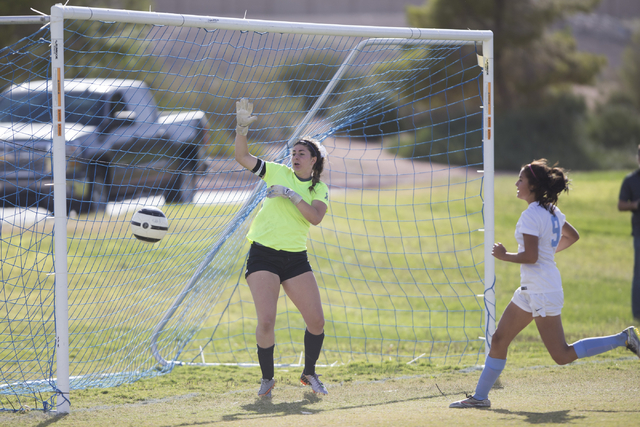 Silverado's Mikaela Becze looks on as a goal attempt by Foothill hits the post in the girl's soccer game at Foothill High School on Thursday, Sept. 22, 2016, in Las Vegas. Foothill won 2-0. Erik V ...
