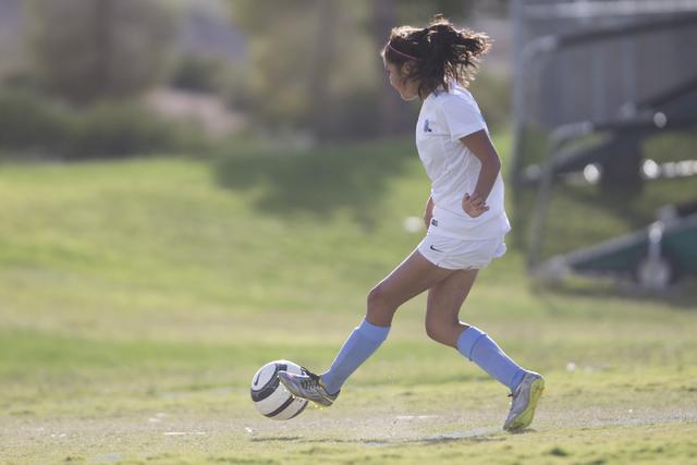 Foothill's Rachel Lentz (9) kicks the ball for a goal against Silverado in the girl's soccer game at Foothill High School on Thursday, Sept. 22, 2016, in Las Vegas. Foothill won 2-0. Erik Verduzco ...