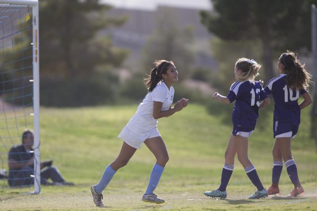 Foothill's Rachel Lentz (9) celebrates her goal against Silverado in the girl's soccer game at Foothill High School on Thursday, Sept. 22, 2016, in Las Vegas. Foothill won 2-0. Erik Verduzco/Las V ...