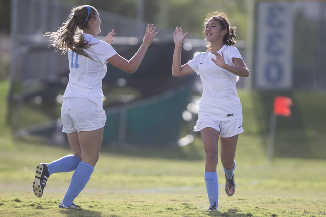 Foothill's Rachel Lentz (9), right, celebrates her goal against Silverado after an assist by Hannah Barnett (11) in the girl's soccer game at Foothill High School on Thursday, Sept. 22, 2016, in L ...