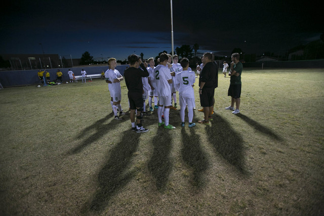 Green Valley soccer players gather at halftime against Foothill during a varsity game at Green Valley High School on Thursday, Oct. 13, 2016. Richard Brian/Las Vegas Review-Journal Follow @vegasph ...