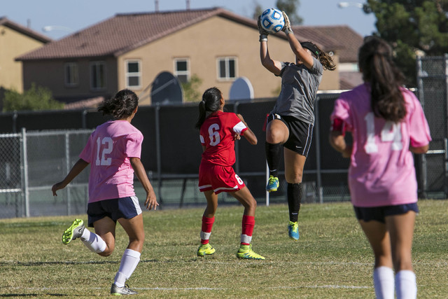 Cheyenne goalkeeper Shayna Thompson jumps to blocks a shot from a Western player during a varsity soccer game at Cheyenne High School on Monday, Oct. 17, 2016. Richard Brian/Las Vegas Review-Journ ...