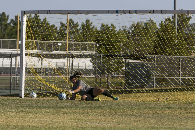 Cheyenne goalkeeper Shayna Thompson blocks a shot from a Western player during a varsity soccer game at Cheyenne High School on Monday, Oct. 17, 2016. Richard Brian/Las Vegas Review-Journal Follow ...