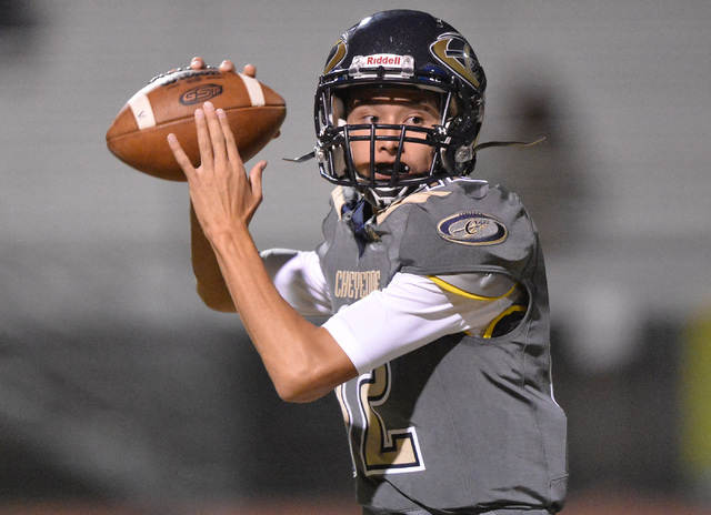 Cheyenne quarterback Matthew LaBonte (12) throws a pass during the Cheyenne High School Sunrise Mountain High School game at Cheyenne High School in North Las Vegas on Friday, Oct. 21, 2016. Brett ...