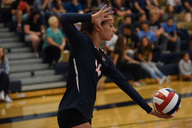 Bishop Gorman's Alysia Neilson (14) gets ready to serve the ball against Shadow Ridge during their volleyball match played at Shadow Ridge's gym in Las Vegas on Tuesday, Aug. 30 2016. Shadow Ridge ...