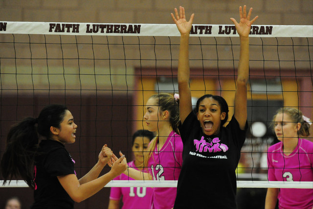 Palo Verde's Jacquelyn Fields, center, celebrates their set win over Faith Lutheran during their prep volleyball match at Faith Lutheran High School in Las Vegas, Tuesday, Oct. 25, 2016. Josh Holm ...