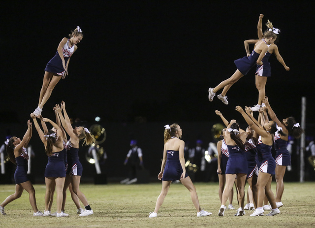 Liberty cheerleaders perform at halftime during a football game against Green Valley at Liberty High School in Henderson on Friday, Sept. 30, 2016. Miranda Alam/Las Vegas Review-Journal Follow @mi ...